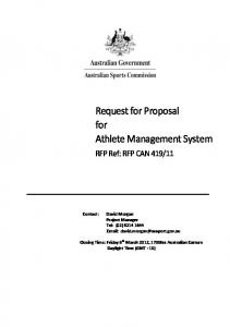 Request for Proposal for Athlete Management System