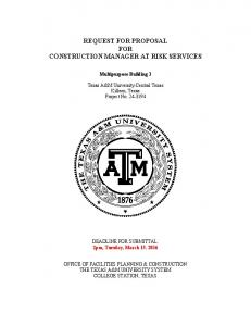 REQUEST FOR PROPOSAL FOR CONSTRUCTION MANAGER AT RISK SERVICES