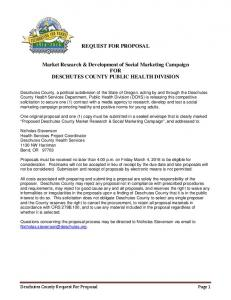 REQUEST FOR PROPOSAL. Market Research & Development of Social Marketing Campaign FOR DESCHUTES COUNTY PUBLIC HEALTH DIVISION