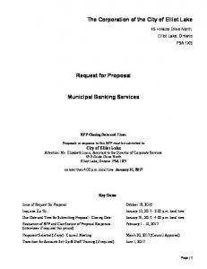 Request for Proposal. Municipal Banking Services