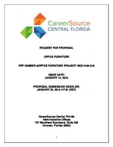 REQUEST FOR PROPOSAL OFFICE FURNITURE RFP NUMBER #OFFICE FURNITURE PROJECT HKS ISSUE DATE: JANUARY 12, 2015