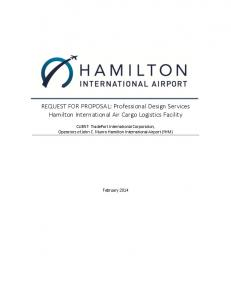 REQUEST FOR PROPOSAL: Professional Design Services Hamilton International Air Cargo Logistics Facility