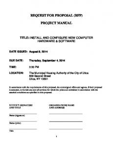 REQUEST FOR PROPOSAL (RFP) PROJECT MANUAL