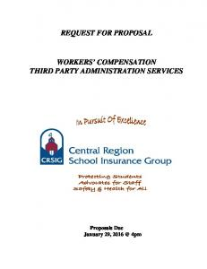 REQUEST FOR PROPOSAL WORKERS COMPENSATION THIRD PARTY ADMINISTRATION SERVICES