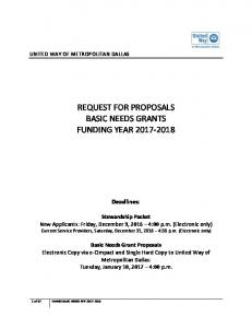 REQUEST FOR PROPOSALS BASIC NEEDS GRANTS FUNDING YEAR