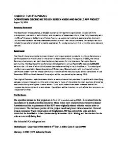 REQUEST FOR PROPOSALS DOWNTOWN ELECTRONIC TOUCH SCREEN KIOSK AND MOBILE APP PROJECT August 19, 2014