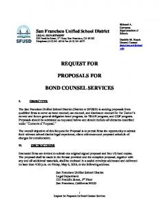 REQUEST FOR PROPOSALS FOR BOND COUNSEL SERVICES