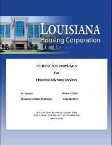 REQUEST FOR PROPOSALS For Financial Advisory Services