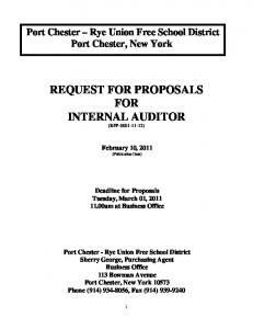 REQUEST FOR PROPOSALS FOR INTERNAL AUDITOR (RFP )