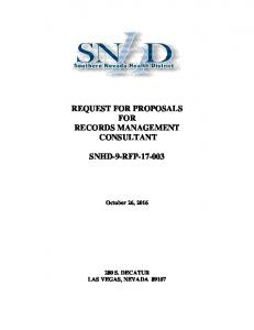 REQUEST FOR PROPOSALS FOR RECORDS MANAGEMENT CONSULTANT SNHD-9-RFP