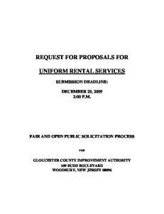REQUEST FOR PROPOSALS FOR UNIFORM RENTAL SERVICES