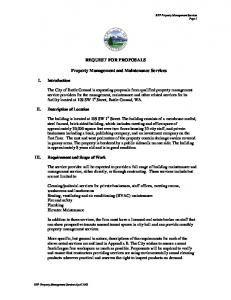 REQUEST FOR PROPOSALS. Property Management and Maintenance Services