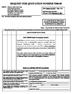 REQUEST FOR QUOTATION NUMBER