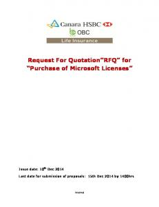 Request For Quotation RFQ for Purchase of Microsoft Licenses