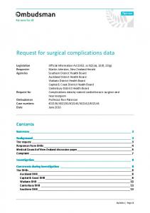 Request for surgical complications data