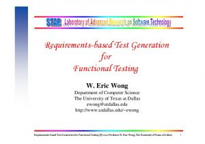 Requirements-based Test Generation for Functional Testing