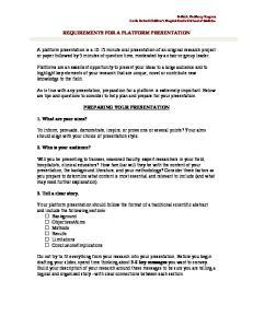 REQUIREMENTS FOR A PLATFORM PRESENTATION