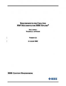 REQUIREMENTS FOR CREATING PDF DOCUMENTS FOR IEEE XPLORE