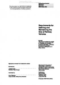 Requirements for Defining and Maintaining the Size of Railway Vehicles
