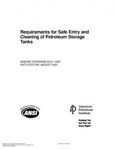 Requirements for Safe Entry and Cleaning of Petroleum Storage Tanks