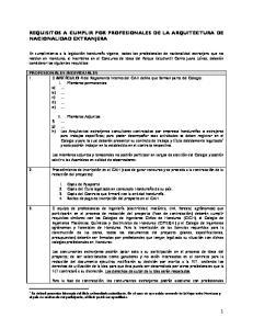REQUISITOS A CUMPLIR POR PROFESIONALES DE LA ARQUITECTURA DE NACIONALIDAD EXTRANJERA