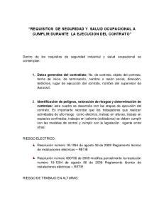 REQUISITOS DE SEGURIDAD Y SALUD OCUPACIONAL A CUMPLIR DURANTE LA EJECUCION DEL CONTRATO
