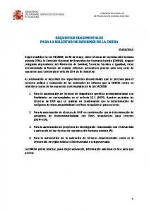 REQUISITOS DOCUMENTALES PARA LA SOLICITUD DE INFORMES DE LA CNRHA