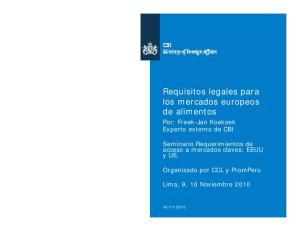 Requisitos legales para los mercados europeos de alimentos