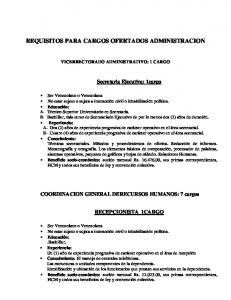 REQUISITOS PARA CARGOS OFERTADOS ADMINISTRACION