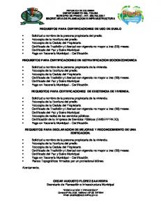 REQUISITOS PARA CERTIFICACIONES DE USO DE SUELO