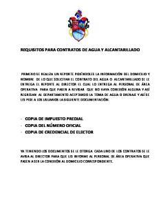 REQUISITOS PARA CONTRATOS DE AGUA Y ALCANTARILLADO