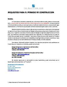 REQUISITOS PARA EL PERMISO DE CONSTRUCCION