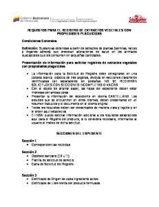 REQUISITOS PARA EL REGISTRO DE EXTRACTOS VEGETALES CON PROPIEDADES PLAGUICIDAS