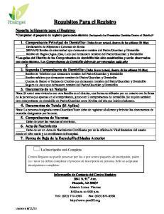 Requisitos Para el Registro