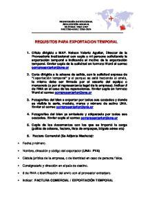 REQUISITOS PARA EXPORTACION TEMPORAL