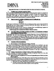 REQUISITOS PARA LA CERTIFICACION DE DOULAS PARA EL PARTO