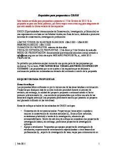 Requisitos para propuestas a CREOI