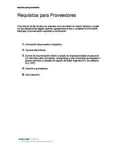 Requisitos para Proveedores