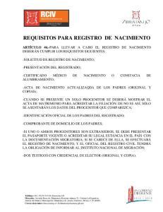 REQUISITOS PARA REGISTRO DE NACIMIENTO
