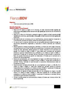 Requisitos: Tener una cuenta corriente con el BDV
