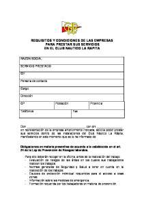 REQUISITOS Y CONDICIONES DE LAS EMPRESAS PARA PRESTAR SUS SERVICIOS EN EL CLUB NAUTICO LA RAPITA