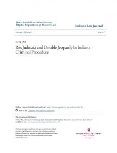 Res Judicata and Double Jeopardy In Indiana Criminal Procedure