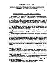 RESCATE DE LA LACTANCIA MATERNA