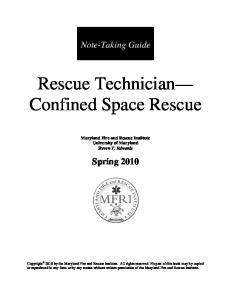Rescue Technician Confined Space Rescue