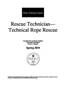 Rescue Technician Technical Rope Rescue