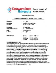 Research and Evaluation Methods II (Data Analysis)