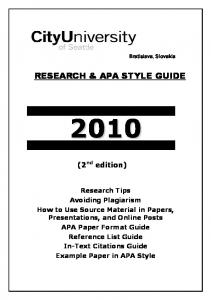 RESEARCH & APA STYLE GUIDE