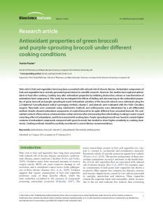 Research article Antioxidant properties of green broccoli and purple-sprouting broccoli under different cooking conditions
