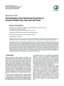Research Article Determination of the Mechanical Properties of Friction Welded Tube Yoke and Tube Joint
