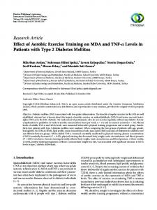 Research Article Effect of Aerobic Exercise Training on MDA and TNF-α Levels in Patients with Type 2 Diabetes Mellitus